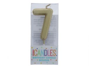 Small Gold Molded Birthday Candle # 7