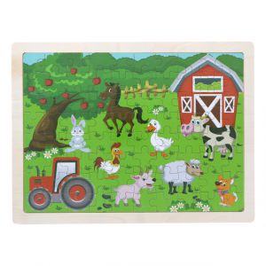 Wooden Farm Animal Puzzle Set for Kids 80 pieces Puzzle For Kids Learning Toys Educational Toys - Size 12 x 9 in