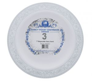 DISPOSABLE FANCY BOWL 7 INCH 3 COUNT
