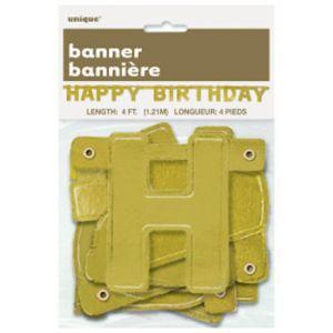 HAPPY BIRTHDAY GOLD BANNER