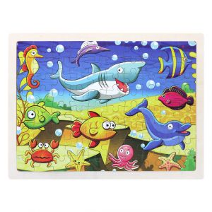 Wooden Sea Animal Puzzle Set for Kids 80 pieces Puzzle For Kids Learning Toys Educational Toys - Size 12 x 9 in