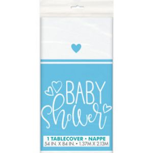 BLUE BABY SHOWER PLASTIC TABLE COVER