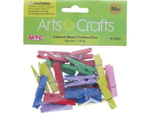 COLORED WOOD CLOTHES PIN 24 PC
