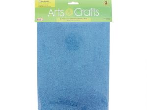 3PC 8X12 ADHESIVE GLITTERED EVA SHEETS-BLUE