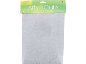 3PC 8X12 ADHESIVE GLITTERED EVA SHEETS-SILVER