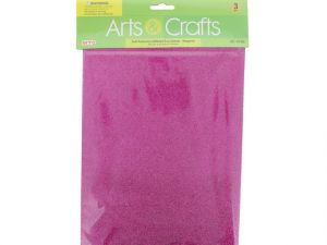 3PC 8X12 ADHESIVE GLITTERED EVA SHEETS-MAGENTA