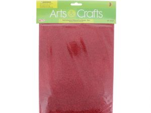 3PC 8X12 ADHESIVE GLITTERED EVA SHEETS-RED