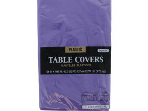 Plastic Table Cover in Purple Color Party Table Cloths Disposable Rectangle Tablecloth - Size 56 x 108 Inches