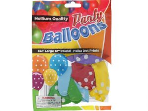 Polka Dot 12 In Large Latex Party Balloons 5 Count
