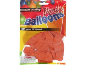 Orange 12 In Large Latex Party Balloons 5 Count
