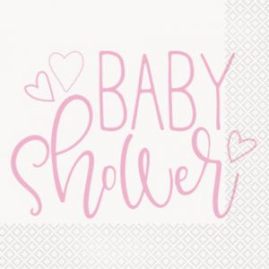 PINK BABY SHOWER LUNCHEON NAPKINS 16 CT