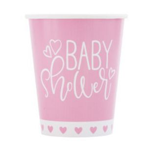 PINK BABY SHOWER CUP 9 OZ 8 CT