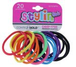SOLID CLASP FREE ELASTIC KIDS BAND 20 PACK