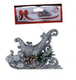 SILVER GLITTER SLEIGH WITH BERRIES 14 CM