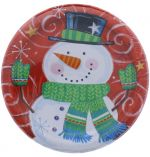 SNOWMAN SWIRL PLATES 8 COUNT 7 INCH