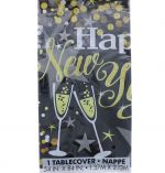 NEW YEARS GLITTER TABLE COVER 54 X 84 INCH