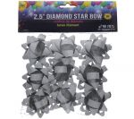 SILVER 2.5 INCH STAR BOWS 9 PCS