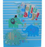 HELLO BABY BLUE EXTRA LARGE GIFT BAG