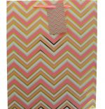 PINK GOLD WHITE ZIG ZAG LARGE GIFT BAG