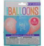 GENDER REVEAL BALLOONS 8 COUNT