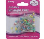 STRAIGHT PINS 75CT COLOR HEADS