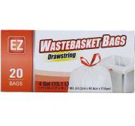 WASTE BASKET DRAWSTRING 20 BAGS 4 GAL