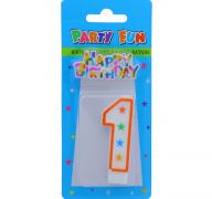 NUMERAL 1 BIRTHDAY CANDLE WITH DECORATION