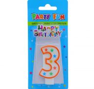 NUMERAL 3 BIRTHDAY CANDLE WITH DECORATION