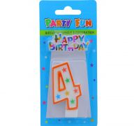 NUMERAL 4 BIRTHDAY CANDLE WITH DECORATION