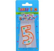 NUMERAL 5 BIRTHDAY CANDLE WITH DECORATION