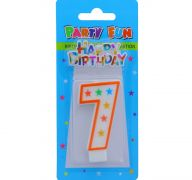NUMERAL 7 BIRTHDAY CANDLE WITH DECORATION