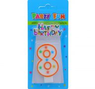 NUMERAL 8 BIRTHDAY CANDLE WITH DECORATION