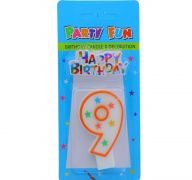 NUMERAL 9 BIRTHDAY CANDLE WITH DECORATION