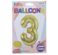 GOLD #3 FOIL BALLOON 34 INCH