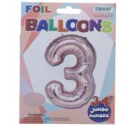 ROSE GOLD  #3 FOIL BALLOON 34 INCH