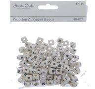 WOODEN ALPHABET BEADS 8 MM 100 PCS