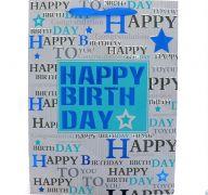 BLUE STAR HAPPY BIRTHDAY MEDIUM GIFT BAG