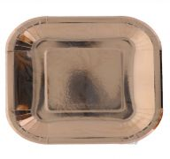 ROSE GOLD SQUARE PLATE 9 INCH 8 PACK