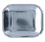 SILVER SQUARE PLATE 9 INCH 8 PACK