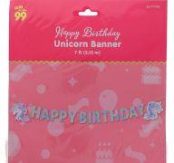 HAPPY BIRTHDAY UNICORN BANNER 7 FEET