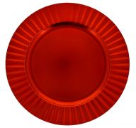 RED PLASTIC PLATE CHARGER 13 INCH