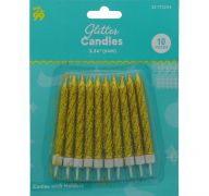 GOLD GLITTER CANDLES 10 PACK 3.54 INCH