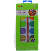 WATERCOLOR PAINT PUCKS 12 COLORS WITH BRUSH