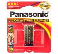 BATTERY PANASONIC ALKALINE #AAA- 2PK POWER PLUS