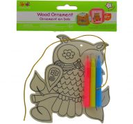 OWL DIY WOOD ORNAMENT KIT WITH 3 MARKERS