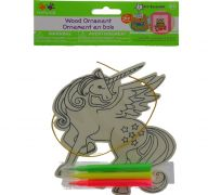 WOODEN UNICORN ORNAMENT WITH MARKERS  XXX DIS