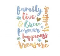 WATERCOLOR STICKER WITH FAMILY PHRASES 15 PC