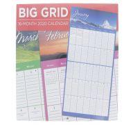 BIG GRID WALL CALENDAR 16 MONTH 2020
