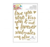 GOLD ROMANTIC GLITTER STICKERS 30 PC