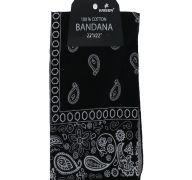 Black Bandana 100 Cotton Versatile Large Paisley Bandanas in Pack of 1
